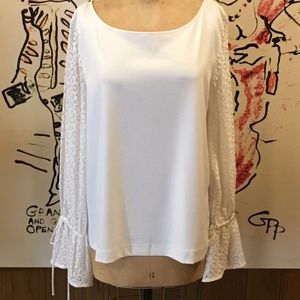 Banana Republic Creme Lace Sleeve Top XL